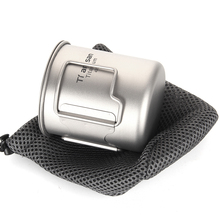 Tiartisan Coffee Mugs Ultralight Metal Milk Titanium Cup Mug Handgrip Drink ware 420ml with Cover For Home Outdoor Tea