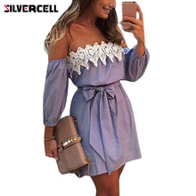 ca79a6f3 SILVERCELL Women Off Shoulder Dress Elastic Sexy Lace Striped Mini Dress  Casual Party Dress With Bowknot
