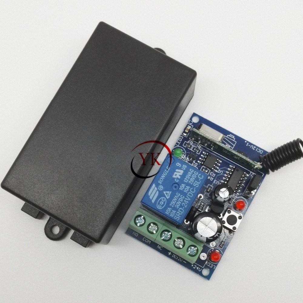 Dc 24v 1 Ch 10a Relay Receiver Remote Control Switches Learning Code Toggle A This Circuit Will Each Momentary Latched 315 43392 Light Lamp Door Access In From Lights