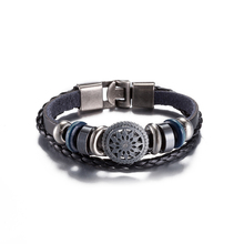 2017 Newest Jewelry Leather Bracelet Women Casual Personality Alloy Retro style Beaded hand woven Leather Vintage Punk Bracelet