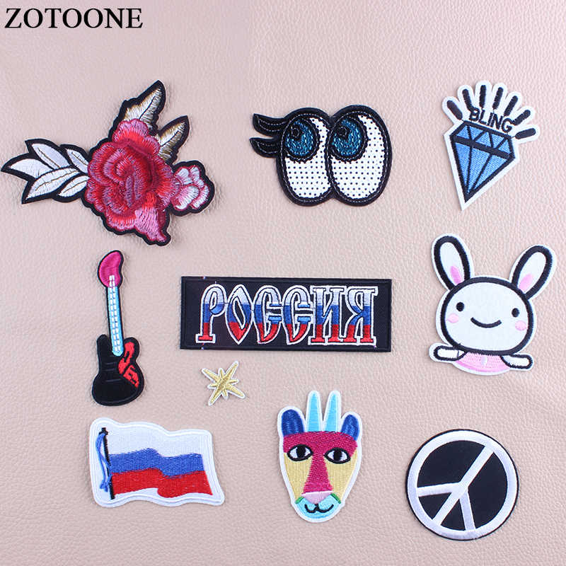 ZOTOONE Iron On Letters Eye Patches For Clothing DIY Embroidery Sequin Flag Rabbit Military Patch Stickers Fabric Appliques D