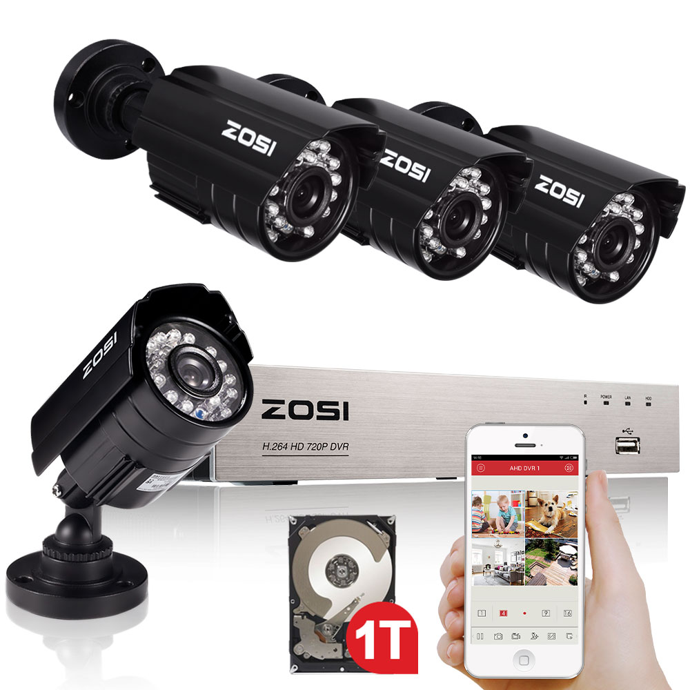 ZOSI 8CH Security Camera System HD-AHD 720P Video DVR recorder with 4x HD 1280TVL 720P Indoor Outdoor Weatherproof CCTV Cameras zosi 1080p 8ch tvi dvr with 8x 1080p hd outdoor home security video surveillance camera system 2tb hard drive white