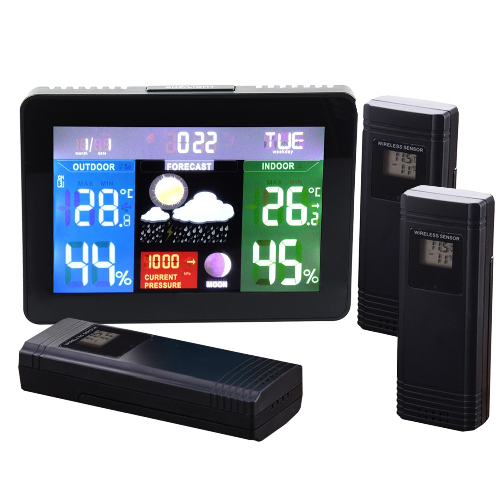 3 Wireless Sensors Weather Station, Color Display Radio Controlled Clock, Barometer RH% Temperature Moon Phase 5 Forecast