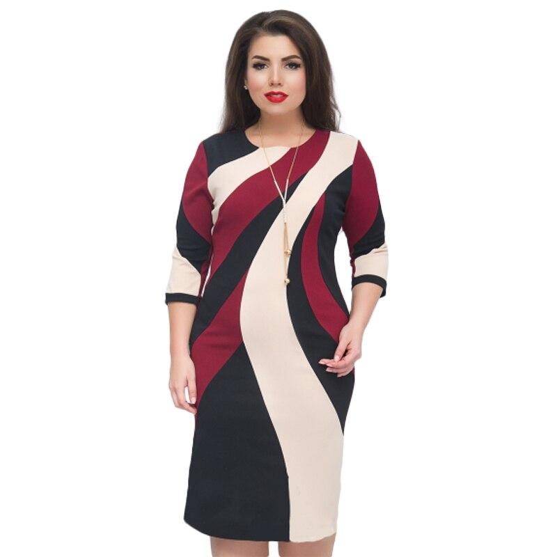 NEW 2018 Summer Dress Printed Office Midi Pencil Dress 5XL 6