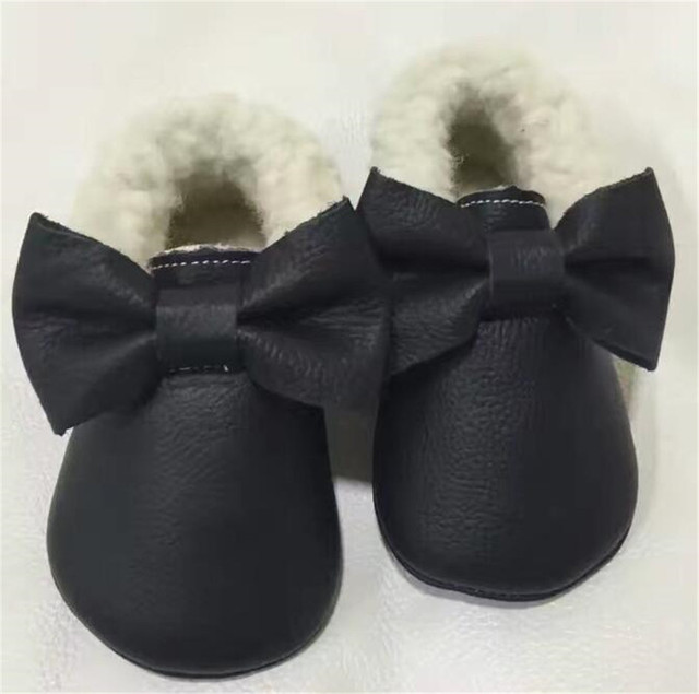 New Winter warm Genuine Leather fringe bow Baby Moccasins fur soft sole solid design Baby Shoes Newborn first walker Infant Shoe