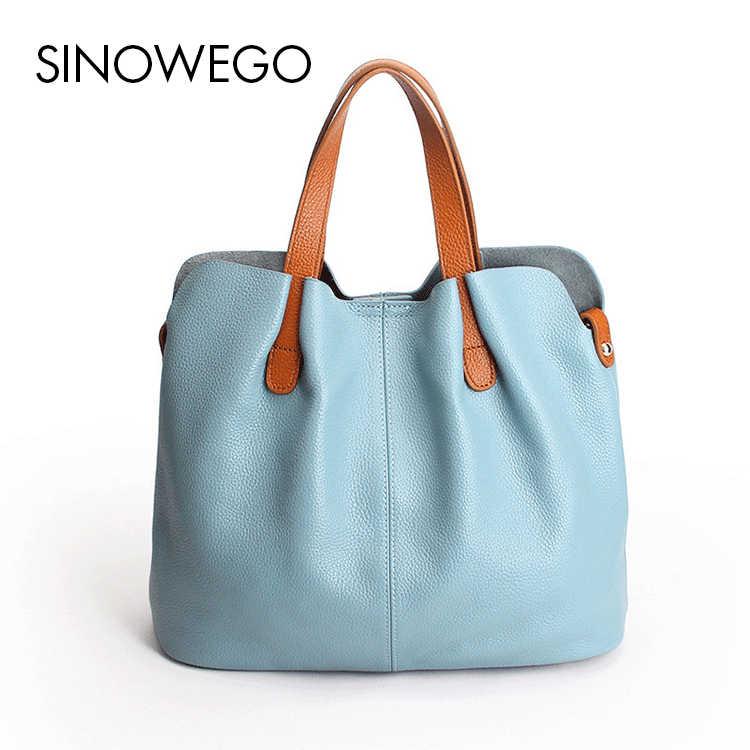 purchase cheap 8a6a0 d00fc 新ファッションエレガントな女性トップハンドルバッグ高級ブランド有名なデザイナー 100% 本革バッグシンプルな大トート固体ハンドバッグ