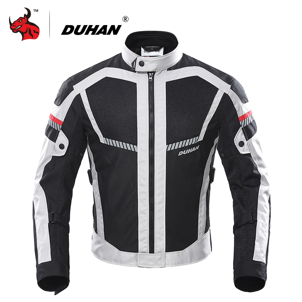 DUHAN Motorcycle Jacket Summer Men Moto Motocross Jacket Moto Protective Gear Breathable Mesh Reflective Motorcycle Clothing duhan motorcycle jacket waterproof moto jacket men s motocross clothing motorcycle suit with elbow shoulder back ce protector