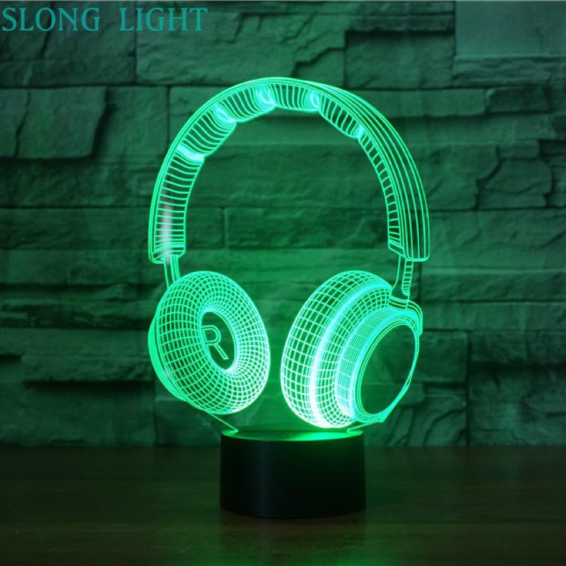 3D Lamp Headset DJ Illlusion Studio Monitor Hifi Music Earphone 3d Night Light Headphone Colorful Desk Lamp Bedroom Decoration