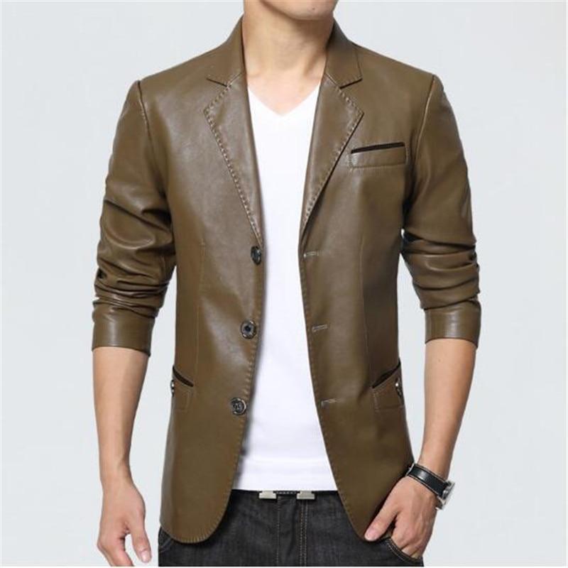 Hommes en cuir veste 2018 nouveau Blazer Style Slim Fit PU en cuir veste hommes grande taille solide homme manteau hommes vêtements - 3