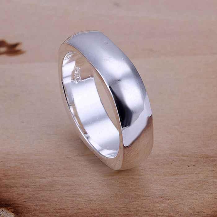 925 Berlapis Perak Perhiasan Cincin Dirancang Fashion Persegi Lucu Perhiasan Cincin Wanita & Pria Jari Cincin Kualitas SMTR004