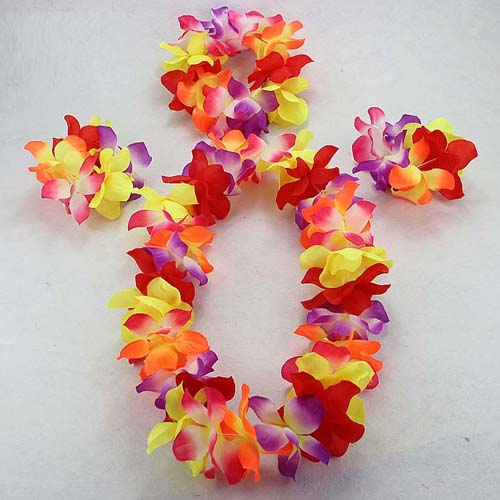 Hawaiian Flower Lei Headband Anklet Hula Garland Floral Hairband Wreath Birthday Party Dress Supplies Wedding