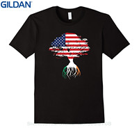 GILDAN Tshirt Men Black Short Sleeve Cotton Hip Hop T-shirt Print Tee Shirts American Flag Tree Irish Roots T-shirt