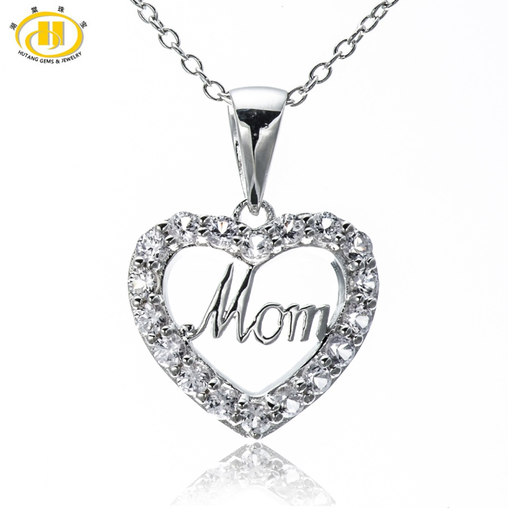 Hutang Love Mom Natural White Sapphire Solid 925 Sterling Silver Pendant Heart Necklace Mother's Day Best Gift Fine Stone Jewelr yoursfs 18k rose white gold plated letter best mum heart necklace chain best mother s day gift