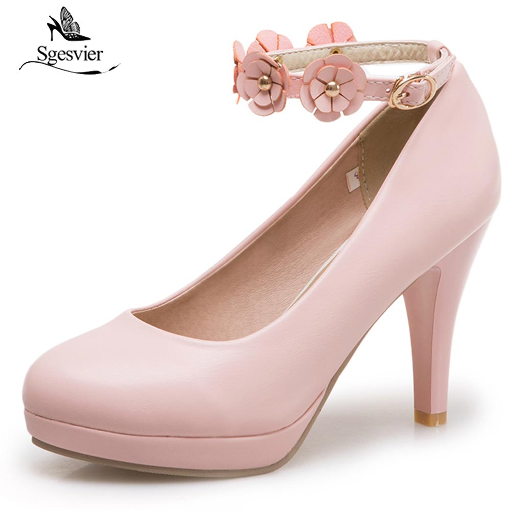 SGESVIER New High Thin Heel Women Pumps High Quality Soft Leather Women Party Shoes Round Toe Ankle Strap Pumps Size 34-43 OX244