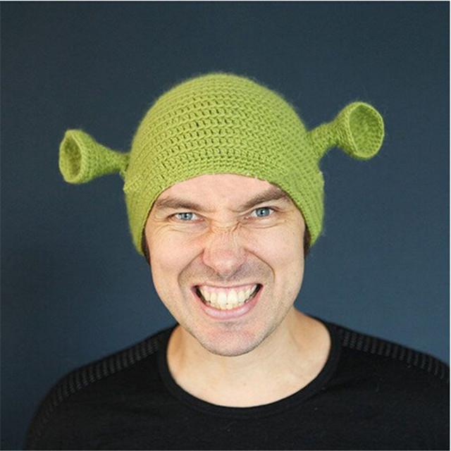 Knit Funny Monster Shrek Beanies Cute Women Men's Caps Cartoon Character Hats Flexfit Cap Interesting Gift Warm Winter Gorras