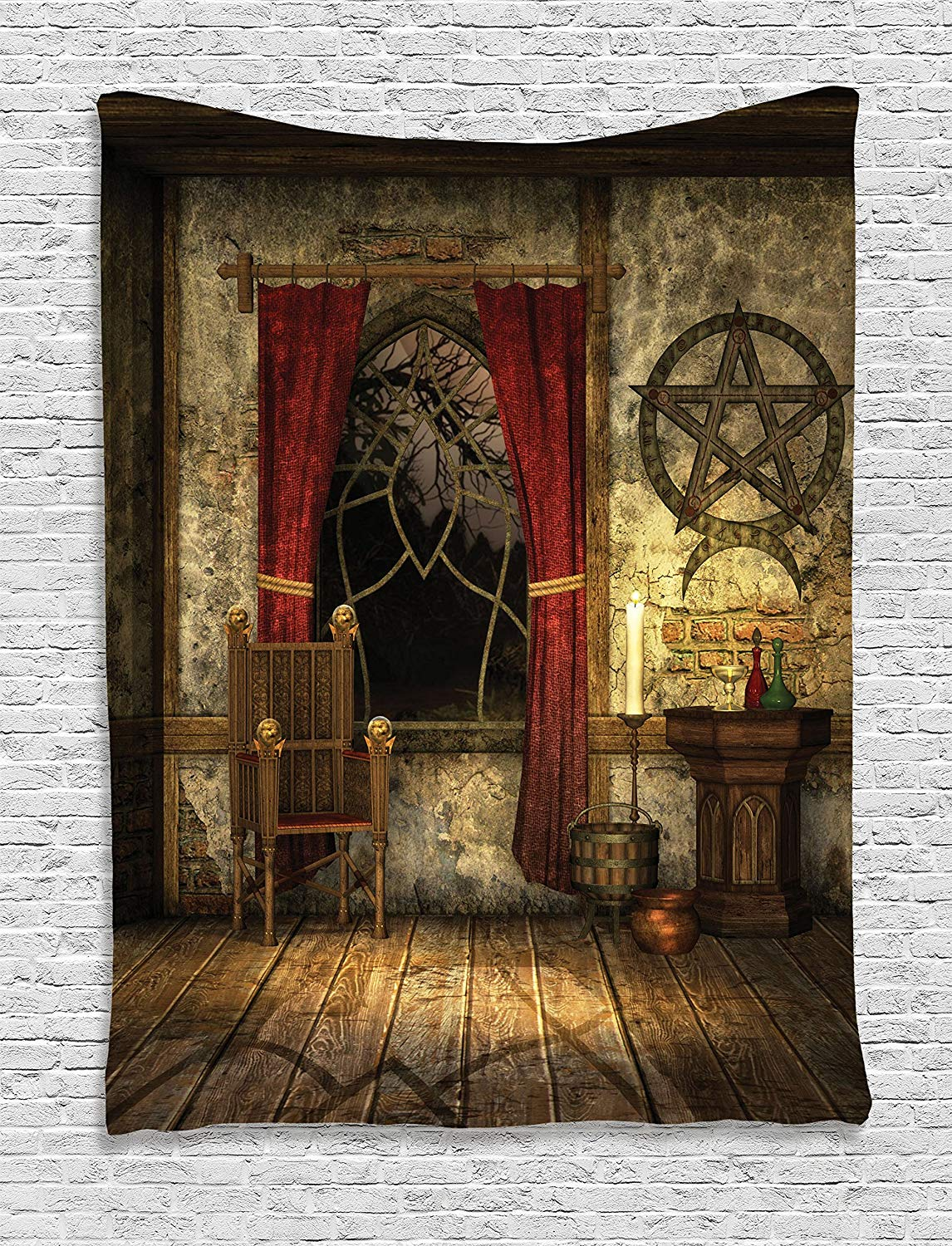 Gothic House Decor Tapestry Room With Pentagram Symbol In Candlelight Red Curtains Mystic Medieval Chamber Print Wall Hanging Tapestry Aliexpress