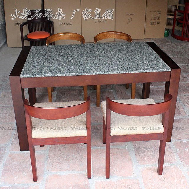 Model Style Marble Natural Stone Table Ash Fire Wood Dining Modern Minimalist Basalt