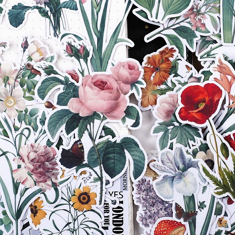 52pcs Creative Cute Self-made Watercolor Fresh Flowers Background Scrapbooking Stickers /Decorative Sticker /DIY Craft Phot TZ66