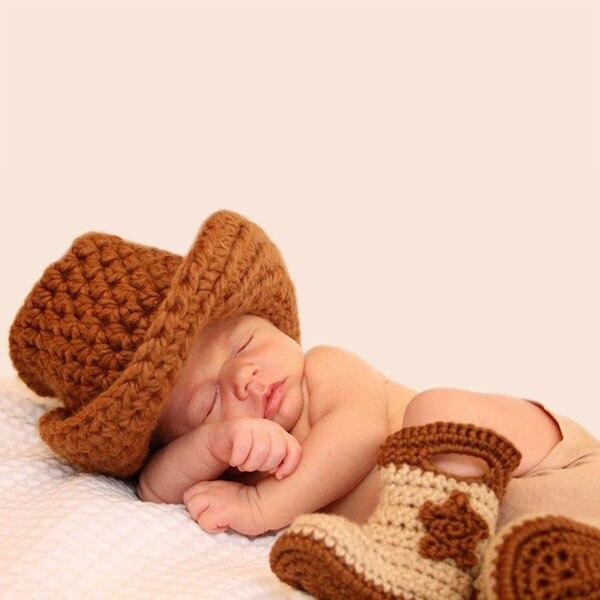 Nuevo Hecho A Mano Del Ganchillo Del bebé del sombrero de vaquero y ...