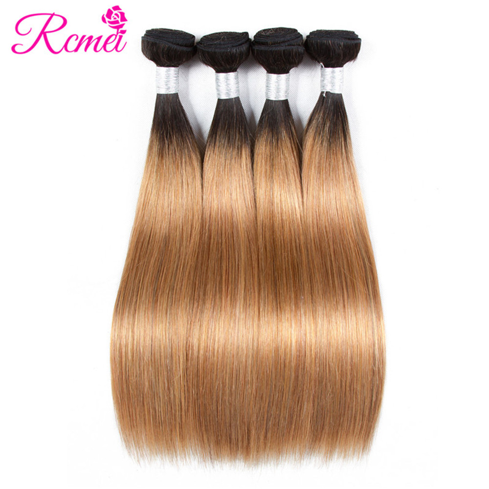 Rcmei Ombre T1B/27 Dyed Bundles Braizlian Straight Hair Pre Colored Two Tone Dark Roots Honey Blonde Hair Weave 4 Bundles Deal