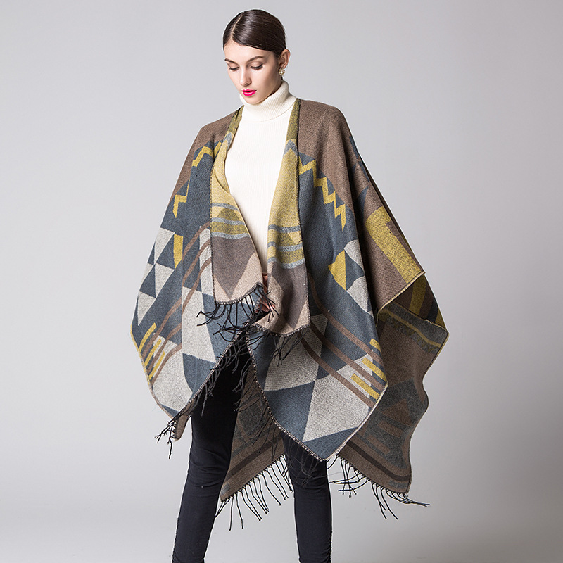 Bohemia Liusu States Lengthened And Thickened Cashmere-like Autumn And Winter National Wind Travel Open-forked Shawl Cloak 2019