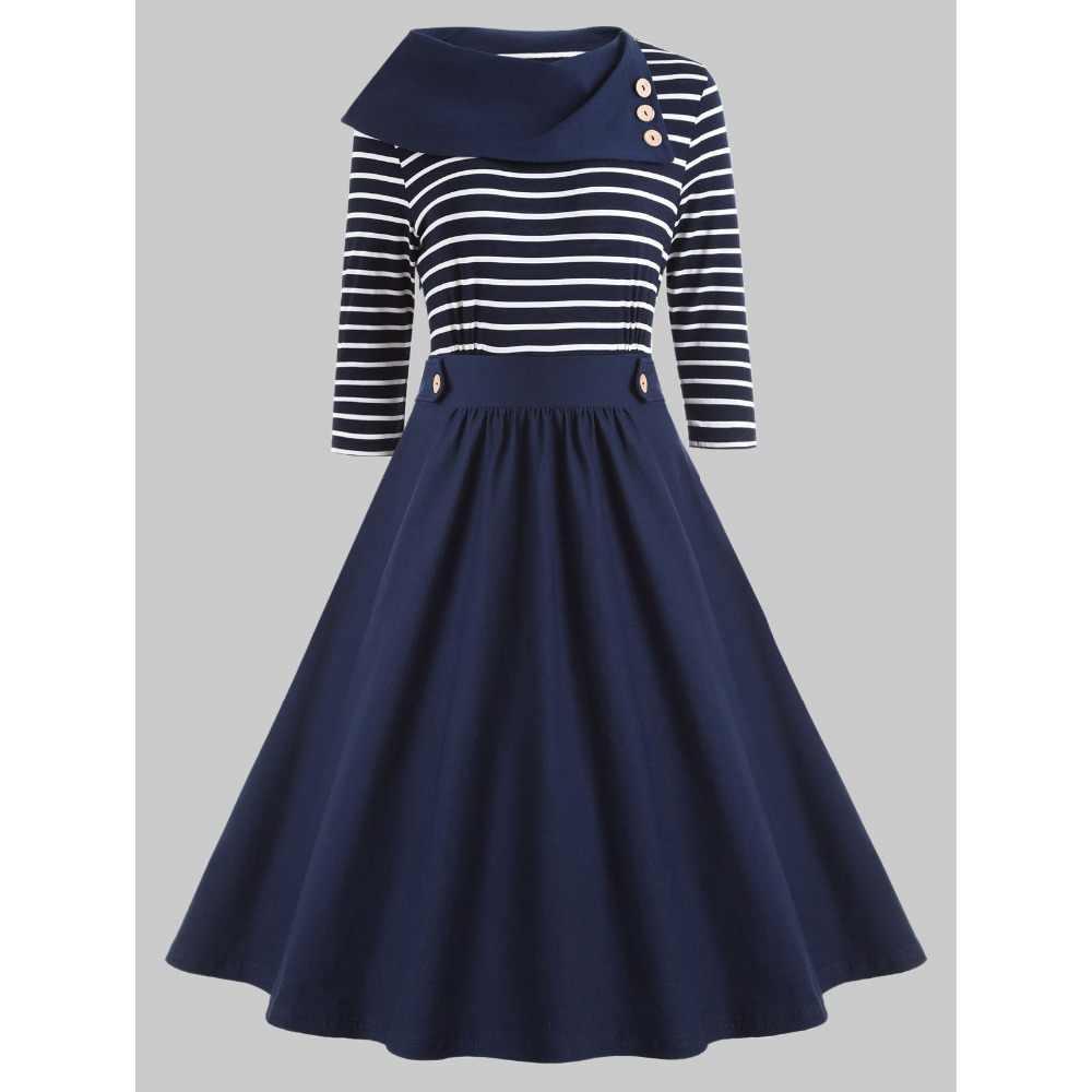 3749628fa040a Kenancy Women Plus Size Striped Vintage Dress Spring Buttoned O-Neck Half Sleeve  Retro Dress