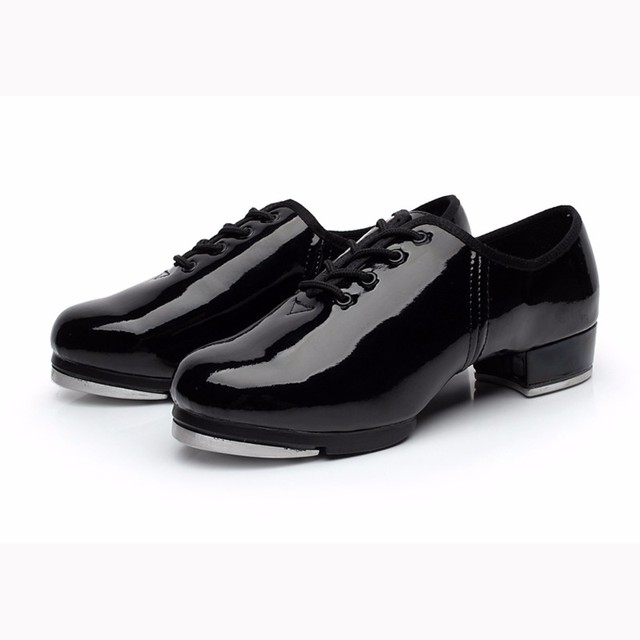 2b1bc02c9 Women Girls Tap Dance Shoes Shiny Patent PU Leather Laced Black ...