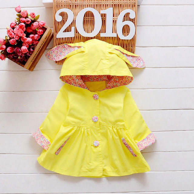 Spring Fashion Baby Girls Cloth Hooded Trench Coats For Girl Newborn Outfit Sport Clothing Infant Jackets Outerwear baby Coat