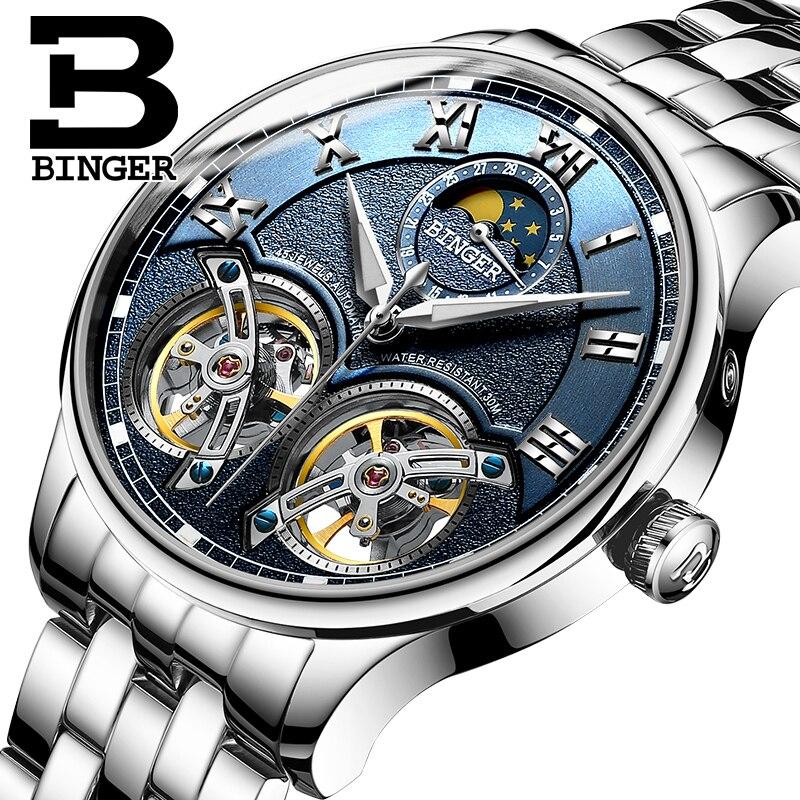 Doble Tourbillon Suiza hombres relojes BINGER reloj automático hombres auto viento moda reloj de pulsera mecánico reloj de cuero reloj-in Relojes mecánicos from Relojes de pulsera    1