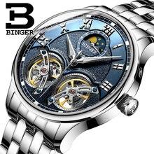 כפול Tourbillon שוויץ גברים שעונים BINGER אוטומטי שעון גברים עצמי רוח אופנה מכאני שעוני יד עור שעון reloj