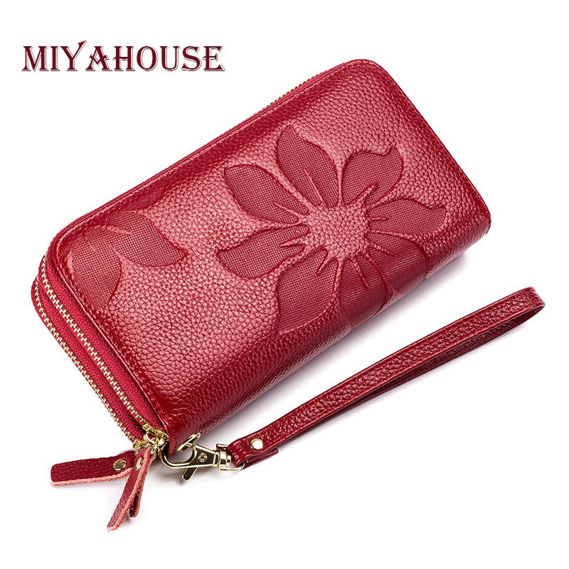 купить Genuine Leather Floral Embossed Long Wallets For Women Double Zipper Clutch Bag High Capacity Card Holder Wallet Female Wristlet по цене 958.76 рублей