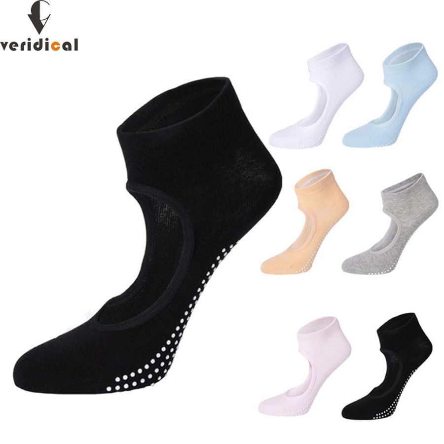 VERIDICAL Professional cotton ankle socks woman Solid Exposed instep invisible sock women non-slip kaos kaki pilates 5 pairs/lot