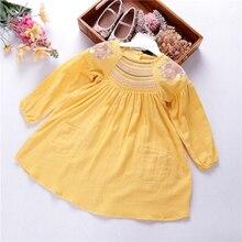 autumn spring girl dress linen long sleeve vintage embroidery flower yellow golden kids dresses children clothes