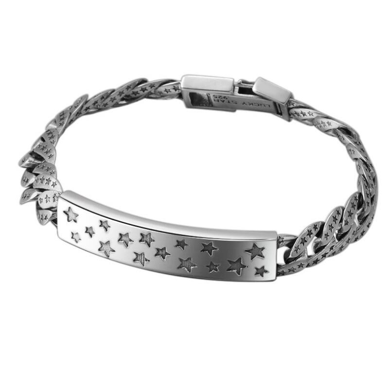 S925 sterling bijoux en argent étoiles rétro hommes de bracelet