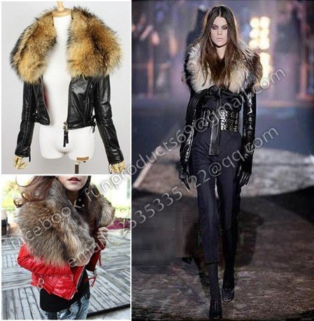 Red Leather Jacket With Fur Collar Photo Album - Reikian