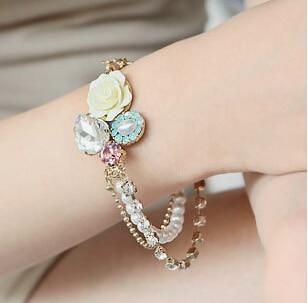 Gorgeous Korean Elegant Women Hot Multilayer Water Drop Crystal Simulated Pearl Rose Bracelet B1323