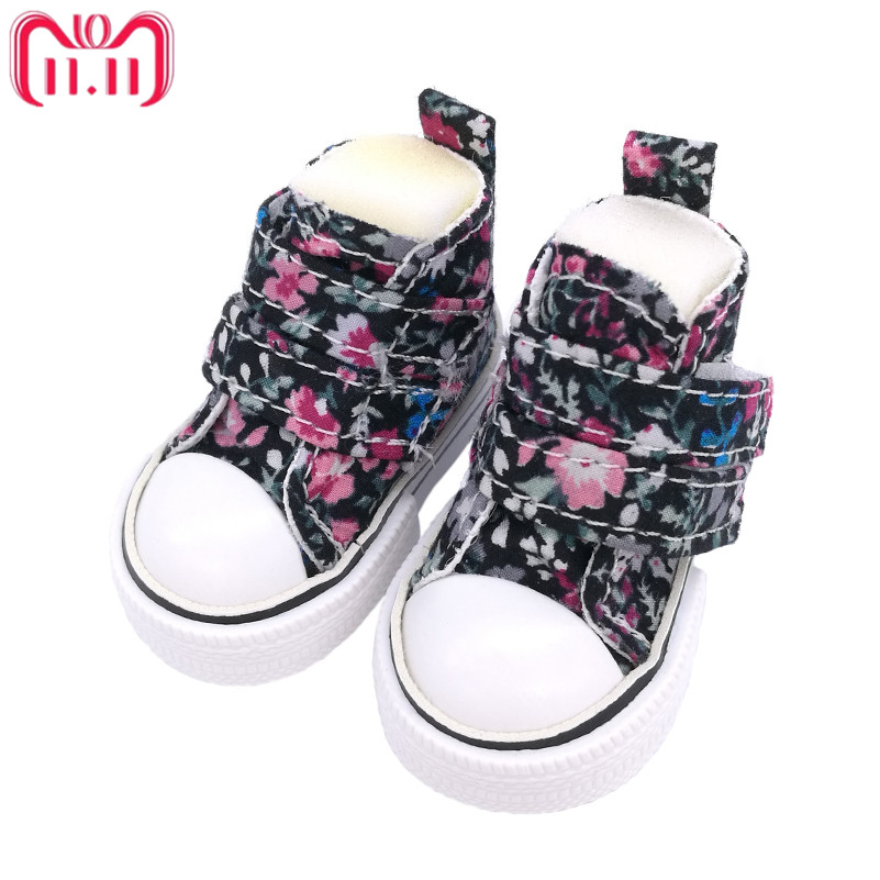 Tilda 6cm Canvas Sneakers For Minifee Paola Reina Dolls,Floral Shoes for Corolle Doll 1/4 Footwear Sneakers Dolls Accessories canvas shoes for paola reina doll fashion mini toy gym shoes for tilda 1 3 bjd doll footwear sports shoes for dolls accessories