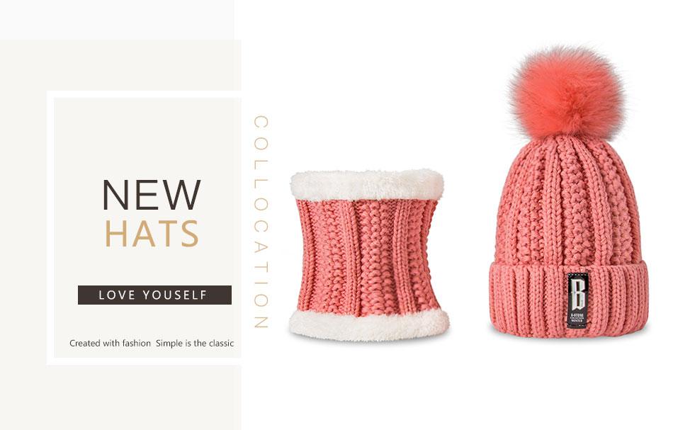 Moda invierno sombrero y bufanda conjunto para mujeres niñas gorros ...