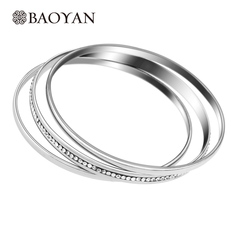Baoyan 316L Stainless Steel Fashion Ladies Wholesale Pack of 3 Pcs Silver Color Crystal Bangle Set for Womens Jewelry