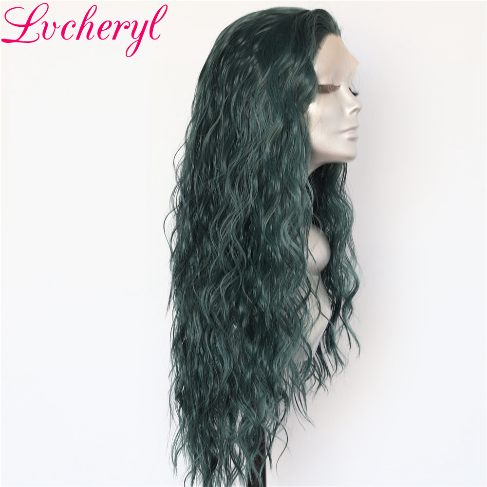 Lvcheryl Hand Tied Teal Green Natural Water Wave Hair wigs Heat Resistant Hair Glueless Synthetic Lace Front Wigs for Women-in Synthetic None-Lace  Wigs from Hair Extensions & Wigs    1