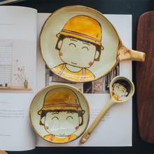 Original Cherry Maruko Hand-painted Ceramic Rice Bowl Set Cutlery Cute Japanese Cartoon Spoon Dishes and Plates Nice Gift