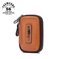 Genuine Leather Keychain Men Key Holder Organizer Pouch Cow Leather Car Key Bag Wallet Housekeeper Key Case Mni Card Bag j50
