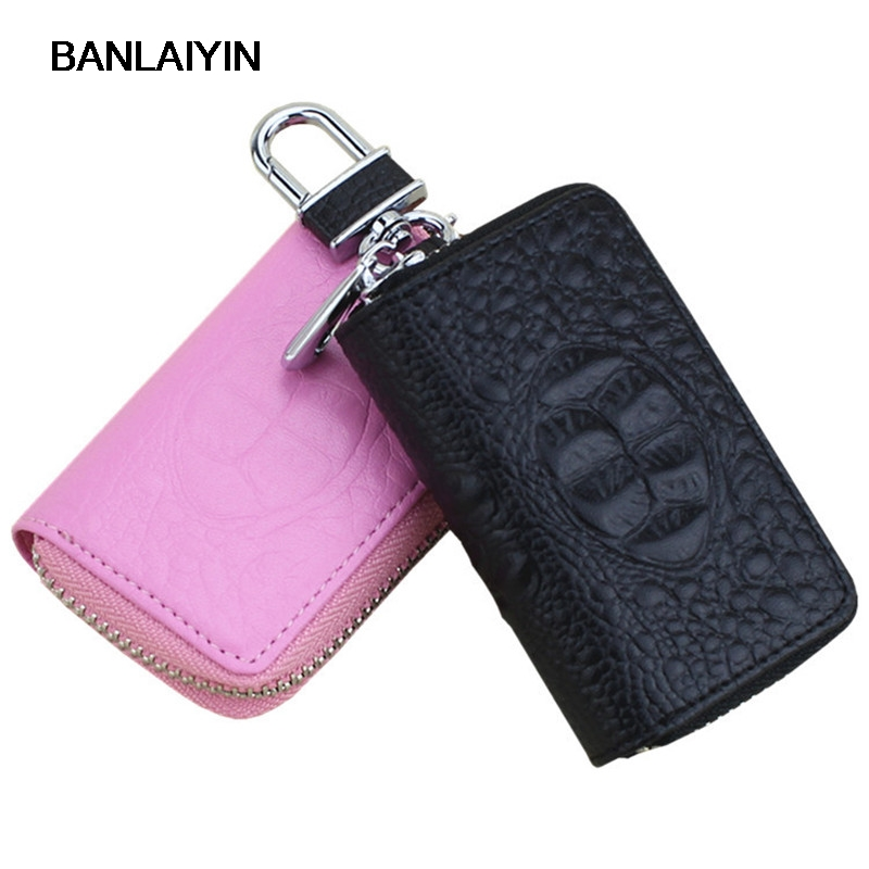 Leather Key Wallet Women Men Crocodile Pattern Keychain Cover Retro Zipper Keys Case Car Key Holder Housekeeper Coin Purse