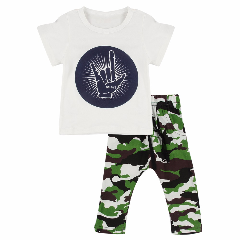 Puseky Camouflage Newborn Baby Boy Toddler Clothes Set T Shirt Tops Short Sleeve Pants Cotton Outfits Set Clothing 1-4T summer baby boy clothes set cotton short sleeved mickey t shirt striped pants 2pcs newborn baby girl clothing set sport suits