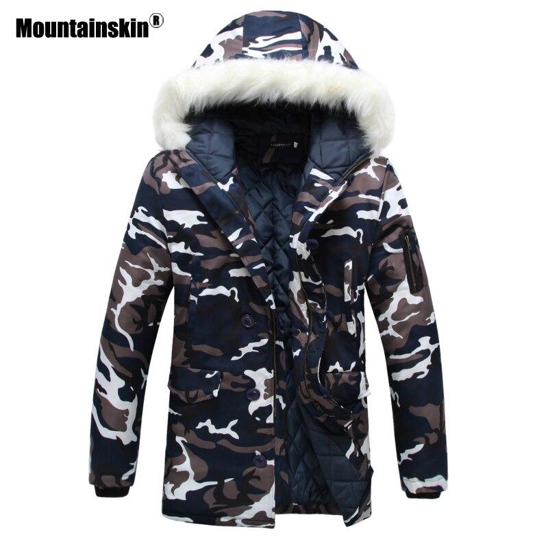 Mountainskin меховой воротник Для мужчин Куртки камуфляжные зимние пальто Для мужчин парки Сгущает Теплый мужской куртки с капюшоном брендовая о...