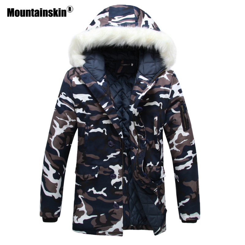 Mountainskin Fur Collar Men's Jackets Camouflage Winter Coats Men   Parkas   Thicken Warm Male Jackets Hooded Brand Clothing SA400