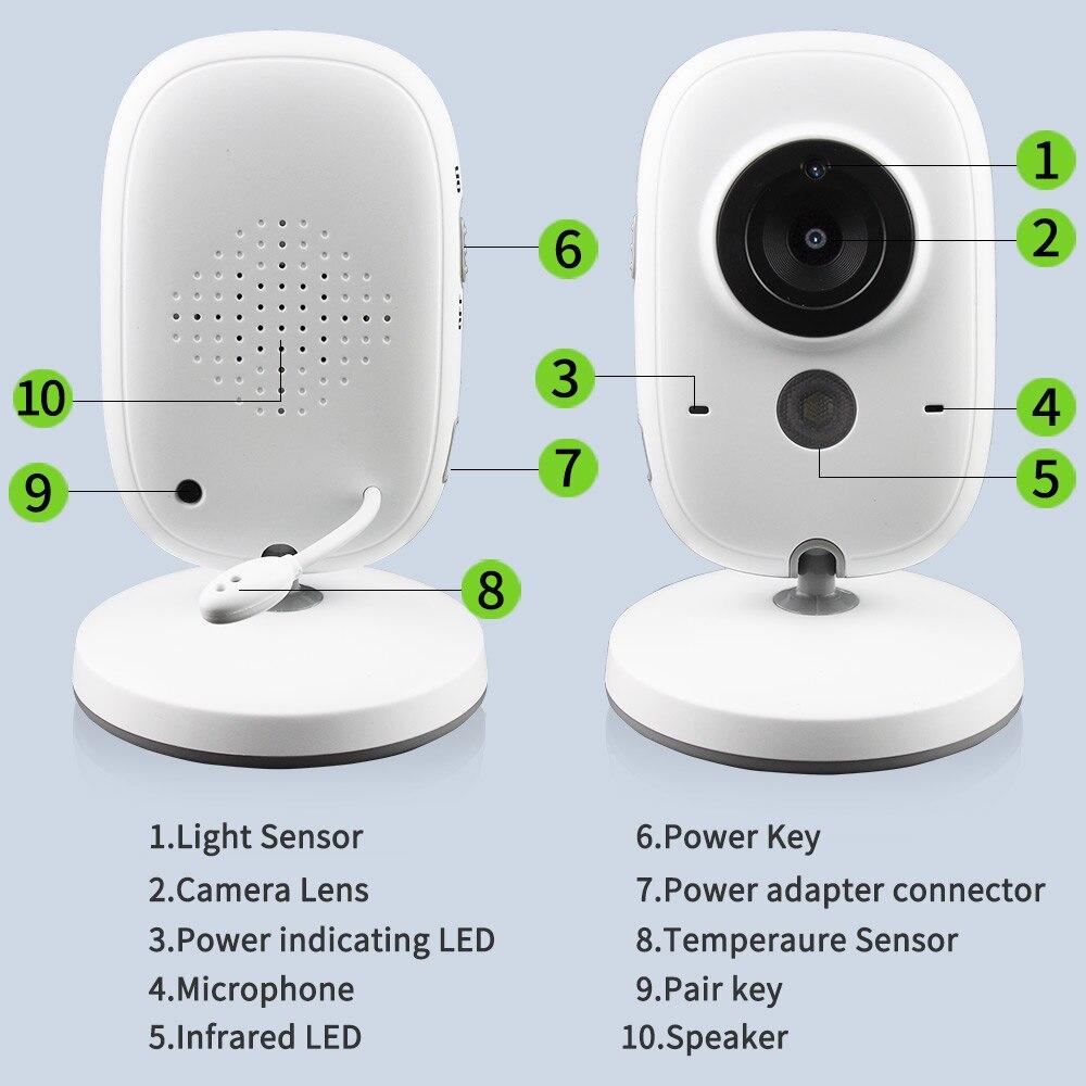 Moniteur bébé couleur vidéo sans fil 3.2 pouces haute résolution caméra de sécurité bébé nounou surveillance de la température de Vision nocturne - 6