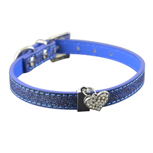 Dog Collar With Bling  Leather Heart Charm Pendent