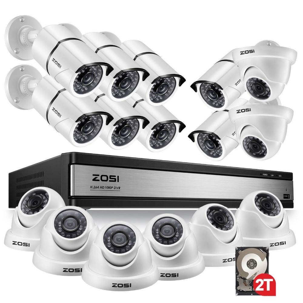 цена ZOSI 1080p 16CH Video Surveillance System with 16pcs 2.0MP Night Vision Outdoor/Indoor Home Security Cameras 16CH CCTV DVR Kit