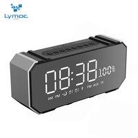 LYMOC Portable Bluetooth Speakers Metal Wireless 7 5 LED Mirror Screen Alarm Clock TF FM U